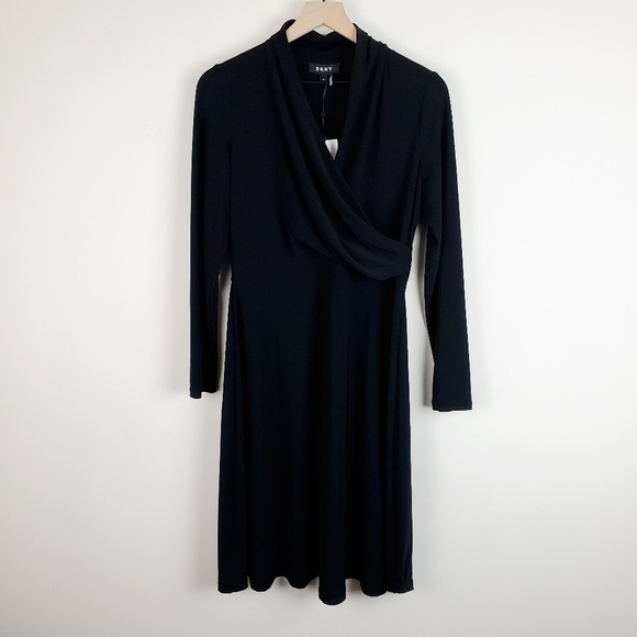 Dkny Dresses & Skirts - DKNY Black Wrap Front Ruched Long Sleeve Dress